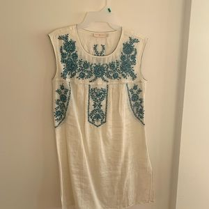 Tory Burch Offwhite & Blue embroidered Top/kurti
